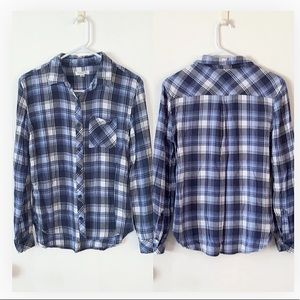 Beach lunch lounge size small blue flannel